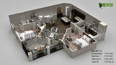3D Casa Piso Planes Visualización Moderno Piso Plan