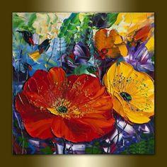 Quadro Pintura em tela Abstrato flores