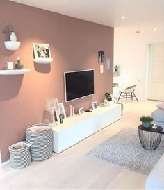 Diese Wandfarbe Diese Wandfarbe The post Diese Wandfarbe appeared first on Wandgestaltung ideen. Living Room Tv, Apartment Living, Home And Living, Living Room Accent Wall, Mauve Living Room, Small Living Room Storage, Living Room Cabinets, Modern Living, Bedroom Colors