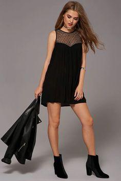 Beaded Yoke Mini Dress