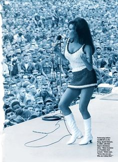 Raquel Welch performing at Bob Hopes Christmas Show in 1967 .. 12,000 GIs enjoying the 'view'.