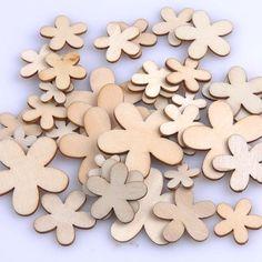 Natural wooden Flower Scrapbooking Carft for Home Decoration Enfeites Para Casa15/20/25/35mm 50pcs MT0699