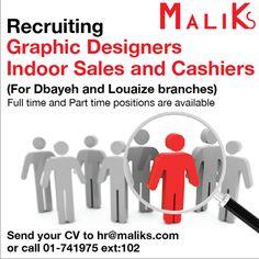 #MaliksLebanon is recruiting #Lebanon 01-741975 ext 102
