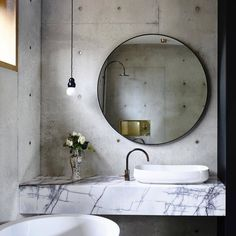 Torquay house is a gorgeous concrete house completed by Auhaus Architecture, an award winning design studio operating in Melbourne. Bathroom Design Trends, Concrete Bathroom, Bathroom Mirror, Concrete House, Modern Bathroom, Round Mirror Bathroom, Monochrome Bathroom, Bathroom Decor, Industrial Bathroom