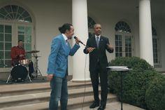 President Obama Helps Lin-Manuel Miranda Freestyle Outside the White House