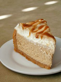 Salted caramel drizzled vanilla cheesecake