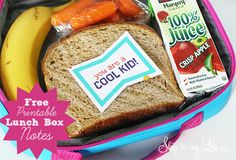 Send a little love to school. Free printable lunch box notes! www.skiptomylou.org #lunchboxnotes #backtoschool