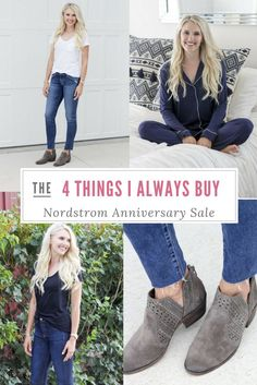 There are 4 things that I always buy at the Nordstrom Anniversary Sale every year without fail and that I look forward to buying each year. These are items that are really great deals, and that you save a significant amount of money in buying now rather than waiting or buying at any other time during the year! Jeans outfit   Booties outfit   Best gifts   Jewelry   Soft pajamas
