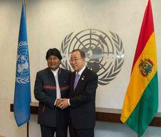 "U.N. Secretary General Ban Ki Moon praised President Morales as a ""symbol of the developing world."""