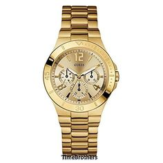 Define Your Time with this #GUESS Active Shine Brushed Gold-Tone Multi-Function Sport Watch that's Unisex, a Perfect Hybrid for Him or Her