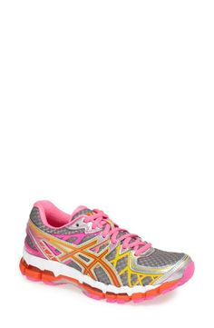 Love! Hot pink and yellow Asics running shoes.