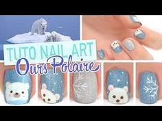 Nail art d'hiver facile ♡ Ours Polaire - YouTube