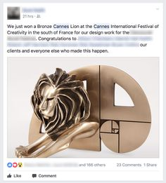 Learn about How do ad agencies win a Cannes Lion award? http://ift.tt/2svH3e5 on www.Service.fit - Specialised Service Consultants.