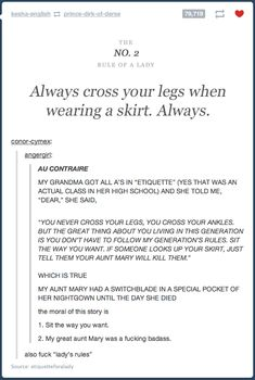 Always cross your legs when wearing a skirt