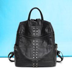 Bolso mochila de viaje bonita con remaches online mochilas de piel promocionales negra para mujeres [VL10504] - €65.46 : bzbolsos.com, comprar bolsos online