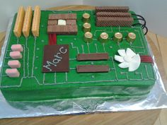 Computer motherboard Birthday cake that I made for my son-in-law.