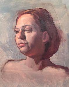 """Porcelain"" - Kevin M Wueste, oil on panel, 2016 {female head life study woman face grunge portrait painting #loveart} kevinwuesteart.blogspot.com"