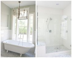 This double pic actually shows the style of bathrooms in our house, our downstairs with claw foot tub and the upstairs shower only soothing white master bath.