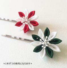 Tsumami kanzashi ヘアピン*二色車(緑)*【つまみ細工/正絹】