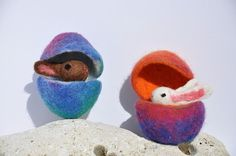 Medium Rainbow Felted Hollow Egg With Bunny by FeltedbyBetti