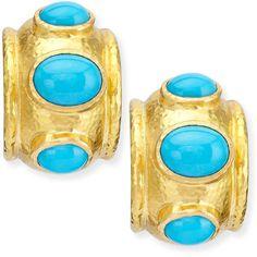 Elizabeth Locke Turquoise Huggie Hoop Earrings (13.880 BRL) ❤ liked on Polyvore featuring jewelry, earrings, oval earrings, turquoise earrings, hammered jewelry, hammered earrings and turquoise jewelry