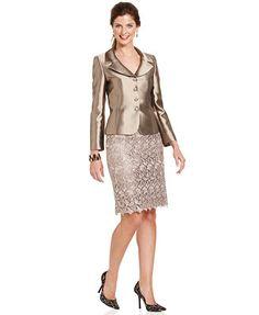 Tahari ASL Three-Button Metallic Lace Skirt Suit