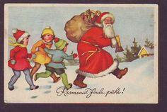 Used 1939 Artist Antique Postcard Red Robe Santa w Kids Estonia Europe | eBay