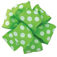 """Polka Dot Wire Edge Ribbon 2.5"""" x 10 yards Kiwi Green, White Wire Edge 100% Polyester Be the center of attention! Playful and modern,you'll definitely want to keep this perky polka-dot"""