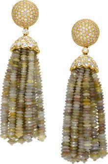 Colored Diamond Bead, Diamond, Gold Earrings