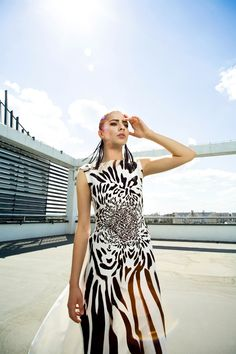 urban fauna fashion editorial. zebra leopard dress, wild cat fashion, fringe leather earrings Leopard Dress, Leather Earrings, Editorial Fashion, Cover Up, Urban, Cat, Dresses, Vestidos, Cat Breeds