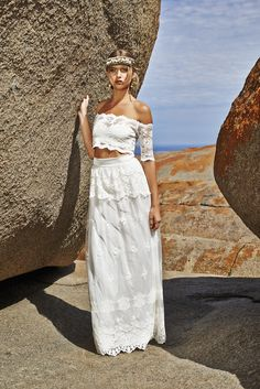Lace Crop Top Wedding Dress