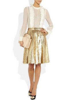 TEMPERLEY LONDON  Sequined silk-chiffon skirt