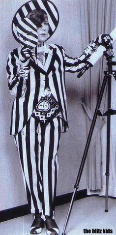 Anna Piaggi wearing black and white stripes