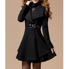 $33.01 Noble Style Worsted Turn-Down Collar Long Sleeves Solid Color Women's Coat