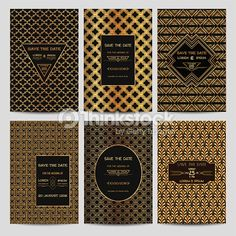 Art deco stock photos and illustrations royalty free images vector art set of wedding invitation cards art deco vintage style stopboris Gallery