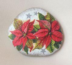 Poinsettia on Stone Christmas Gift Decoration Painted rock Beachstone Adriatic Colourful Vibrant Christmas tree Christmas table