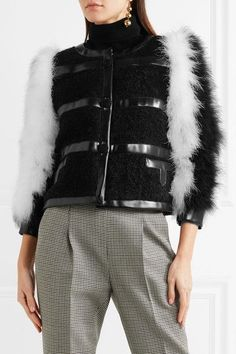Philosophy di Lorenzo Serafini - Feather And Faux Leather-trimmed Mohair-blend Bouclé Jacket - Black
