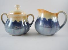 Slovakia Lusterware Sugar Bowl and Creamer by MSMUnlimited on Etsy, $25.00