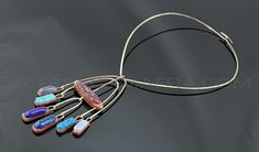Elsa Freund Modernist Kinetic Necklace, Silver and ceramic. 1950