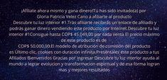 ¡Afíliate ahora mismo y gana dinero! Tú has sido invitado(a) por Gloria Patricia Velez Cano a afiliarte al producto Descubre tu luz interior #1. Tras afiliarte recibirás un enlace de afiliado y podrás ganar dinero vendiendo este producto por Internet. Descubre tu luz interior #1 Consigue hasta COP$ 36.039,20 por cada venta El precio máximo de este producto es de COP$ 50.000,00. El modelo de atribución de comisión del producto es Último clic, cookies con duración infinita. Preséntales este… Internet, Personalized Items, Model, Love You Unconditionally, Indoor Lights, Abundance, Earn Money, Thoughts