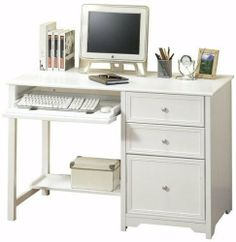 "Oxford Computer Desk With Shelf, 46""W, WHITE by Home Decorators Collection. $259.00. Assembly required.. Large: 56""W.. Small: 46""W.. 30""H x 24""D.. The sleek, simple style of this computer desk from our Oxford Collection makes it a welcome addition to any home office furniture arrangement. 2 storage drawers, 1 file drawer, a spacious desktop and a lower shelf provide ample space for all of your office needs. Why wait? Buy your desk today.Sturdy construction features a so..."