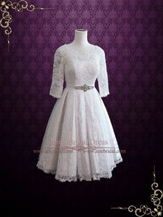 Vintage Tea Length Pleated Lace Wedding Dress with Sleeves and Modest | Ieie's Bridal Wedding Dress Boutique, #tealengthweddingdress http://www.ieiebridal.com/collections/tea-length-wedding-dresses