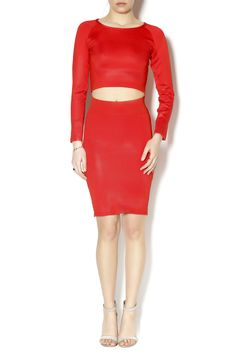 Red long sleeve crop top and high waist knee length skirt