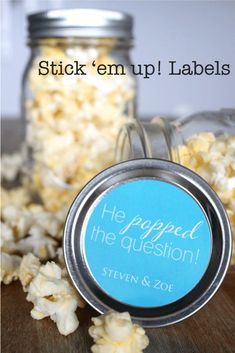 He Popped the Question Engagement Party by StickEmUpLabels on Etsy, $5.50 #engagement #party #ideas