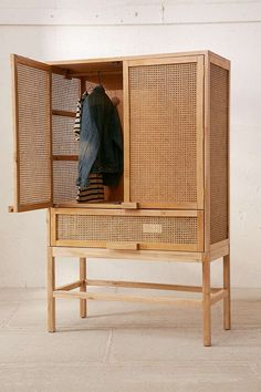 Storage cabinet in gmelina wood, open woven look, when you need a little more closet space . Gmelina Wood, House Interior, Furniture, Furnishings, Interior, Cabinet, Home Furniture, Home Decor, Storage Cabinet