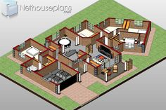 5 Bedroom Single Storey House Plan For Sale NethouseplansNethouseplans 6 Bedroom House Plans, 4 Bedroom House Designs, Porch House Plans, Garage House Plans, Craftsman House Plans, Design Bedroom, House Plans For Sale, House Plan With Loft, House Plans With Photos