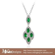 Fashion Austrian Crystal AAA + Zircon 18k Gold Plated Emerald Pendant Necklace Women Neckalce Wedding