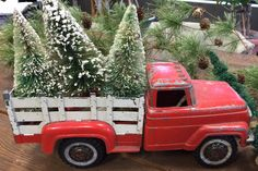 Christmas bottle brush trees in back of vintage toy red truck Christmas Red Truck, Merry Christmas, Primitive Christmas, Christmas Toys, Country Christmas, Christmas Projects, Winter Christmas, Vintage Christmas, Vintage Red Truck