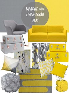 My Pantone Grey and Yellow Living Room Ideas celebrate the Pantone Colours of the Year 2021. Pantone 17-5104 Ultimate Gray and Pantone 13-0647 Illuminating (Yellow) are the two colours nominated for 2021. Ultimate Gray is practical and steady yet optimistic while Illuminating is strong, positive and friendly. They are independent colours that come together to show support and convey a message of strength and hopefulness, which will be enduring and uplifting. Includes affiliate partners. Gray Pantone, Pantone Color, Grey And Yellow Living Room, Paint Color Palettes, Yellow Interior, Color Of The Year, Trendy Colors, Home Textile, Decoration