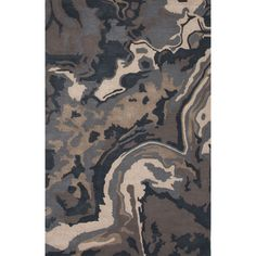 Valentino Wool and Art Silk Hand Tufted Blue/Tan Area Rug